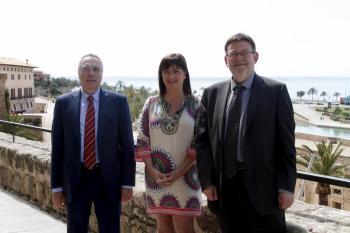 Pere Navarro, Francina Armengol i Ximo Puig, ahir a Palma.