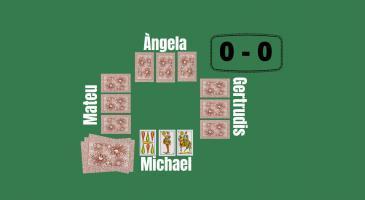 Marcador 0-0 En Michael és mà i envida de primeres amb 34 per saber com jugar. Tot seguit els adversaris fan DOS MÉS. Què haurien de fer en Michael i n'Àngela? N'Àngela només duu un 3.