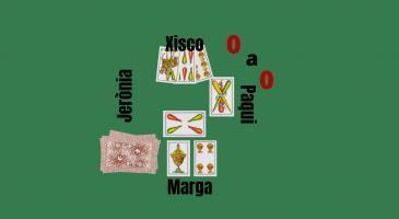 Marcador: 0-0. Na Marga comença la jugada amb un 4, seguidament na Paqui Posa un 3. En Xisco envida amb els seus 34 i na Jerònia i na Paqui no volen. Què jugaríeu si fóssiu en Xisco?