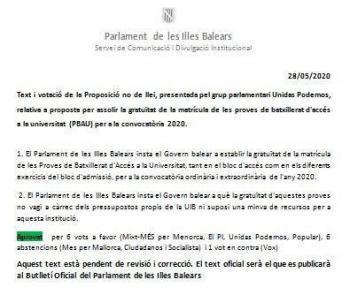 El Parlament aprova que la Selectivitat sigui gratuïta