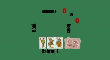 Marcador 0-0. En Guillem fa senya de mort i no duu envits. Na Neus envida i truca de mà. Què faríeu vegent les cartes de'n Gabriel Font?