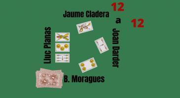 En Joan Darder fa senya de mort. Jaume Cladera  envida i la parella mixta no vol. Veient les cartes de na Lluc Planas, si en Jaume juga una llengua, què faríeu?