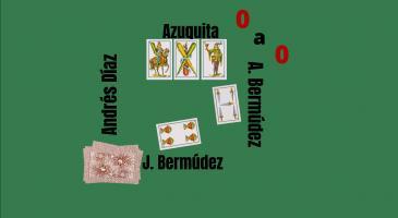 En Juan Bermúdez fa senya de mort. Si n'Antonio Bermúdez juga un 5, veient les cartes de n'Azuquita i fixant-nos només amb el truc, quina carta jugaríeu?