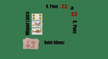 Marcador 22-22. En Rafel envida de mà. En G.Pons fa senya de mort, veient les cartes de'n Miquel Llutre, què faríeu?