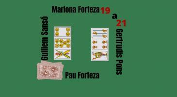 Marcador: 21-19. En Pau Forteza envida i truca de mà. Veient les cartes de la parella mixta, què faríeu?