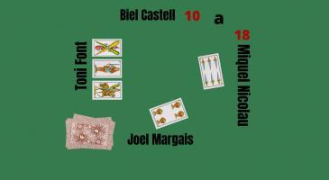 Marcador 10-18. En Biel Castell envida la falta, en Miquel Nicolau no en duu, veient les cartes d'en Toni Font, què faríeu?