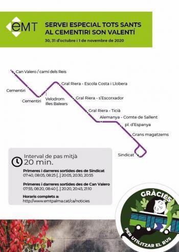 L'EMT de Palma habilita un servei especial per a accedir al cementeri els dies 30, 31 i primer de novembre