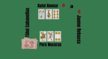 Veient les cartes de la parella formada per en Rafel Alomar i en Pere Noceras,obviant l'envit, amb quina carta sortiríeu per a tenir matemàticamennt més probabilitats de guanyar el truc?