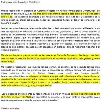 La Plataforma per la Llengua demana més classes en català a la UIB i una professora de Dret els diu: «Seguiré haciendo uso de mi lengua el castellano» i «me da mucha pena que su mundo se termine en el Cabo de Formentor»