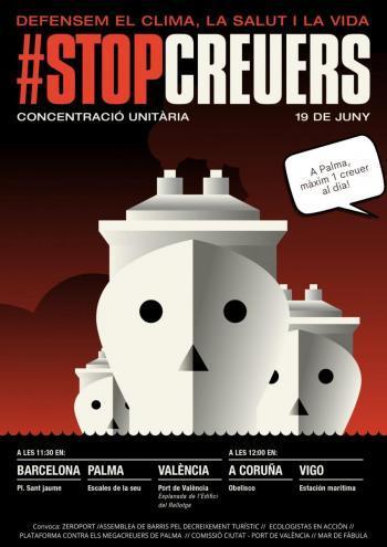 Palma, València, Barcelona, Tarragona, la Corunya i Vigo s'uneixen contra el retorn dels megacreuers i l'ampliació dels ports