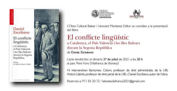 Presentació a Vilafranca del llibre 'El conflicte lingüístic a Catalunya, el País Valencià i les illes Balears durant la Segona República'
