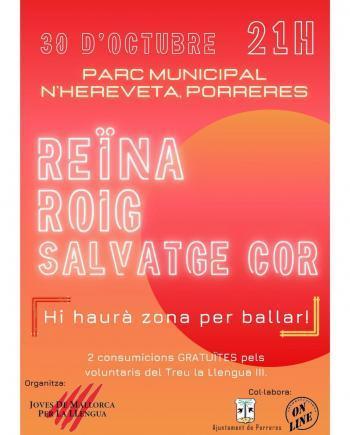 Joves de Mallorca per la Llengua organitza una festa a Porreres amb els grups Reïna, Roig i Salvatge Cor