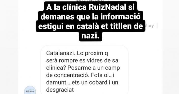 Demana a una clínica de Palma que la informació estigui en català i rep una allau d'insults: «Catalanazi, ets un covard i un desgraciat»