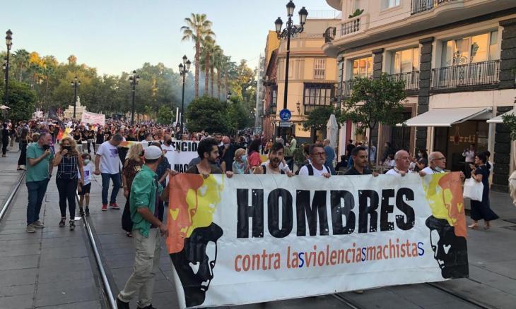 Manifestació homes contra les violències masclistes, Sevilla. 21 Oct. 21. Autor: Pere Fullana F.